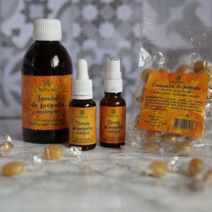 Pack garganta: caramelos pequeños, tintura, jarabe y spray